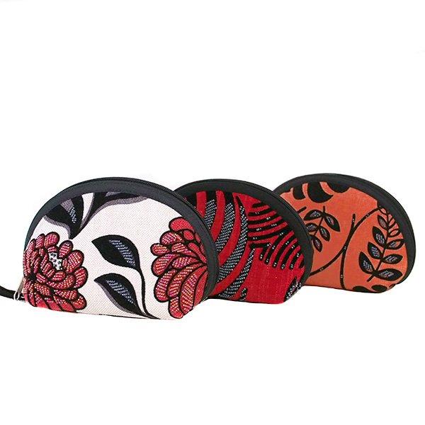 ベトナム 花刺繍 ビーズ ポーチ (マチ付き 3色)