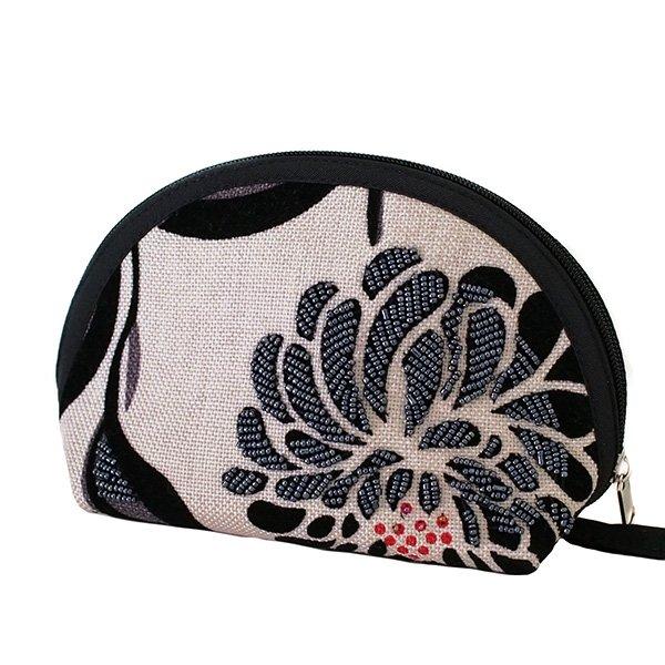 ベトナム 花刺繍 ビーズ ポーチ (マチ付き 3色)【画像2】