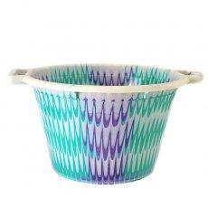 セネガル プラスチック持ち手付きの桶(ブルーグリーン×パープル 12リットル)