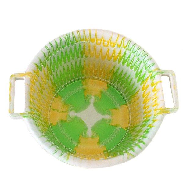 セネガル プラスチック持ち手付きの桶(キミドリ×イエロー 12リットル)【画像3】