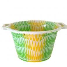 セネガル プラスチック持ち手付きの桶(キミドリ×イエロー 12リットル)