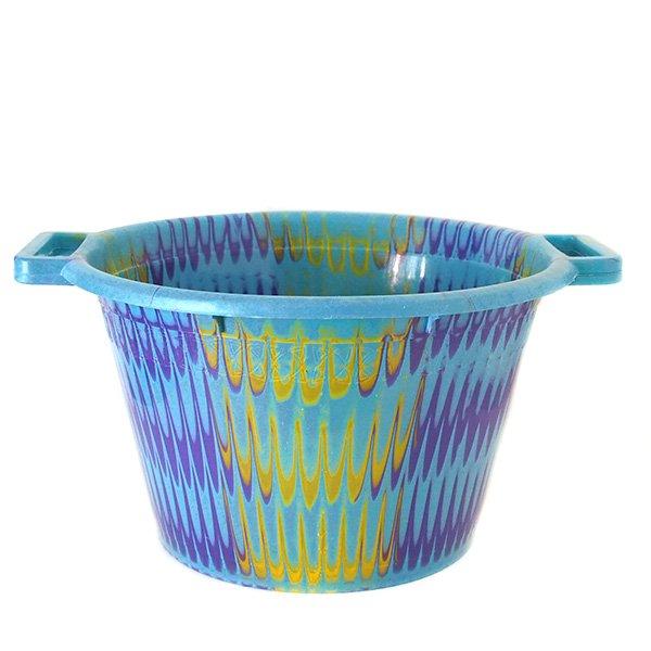 セネガル プラスチック持ち手付きの桶(パープル×イエロー 12リットル)