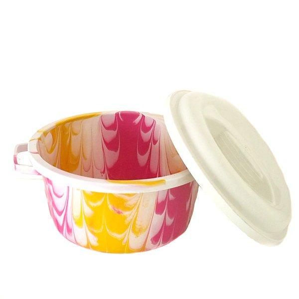 セネガル プラスチック蓋付きの桶(直径 30cm ピンク)【画像4】