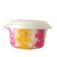 アフリカ プラスチック雑貨 セネガル プラスチック蓋付きの桶(直径 30cm ピンク)