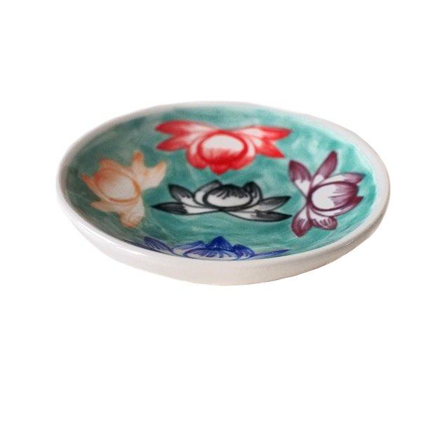 ベトナム バッチャン焼き 蓮の花 (カラフル 丸 小皿)【画像3】