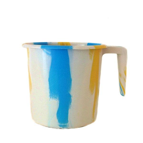 セネガル プラスチックコップ(1リットル ホワイト×ブルー)