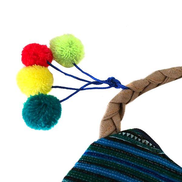 ベトナム 少数民族 モン族 刺繍 ポンポン ポシェット(グリーン)【画像3】