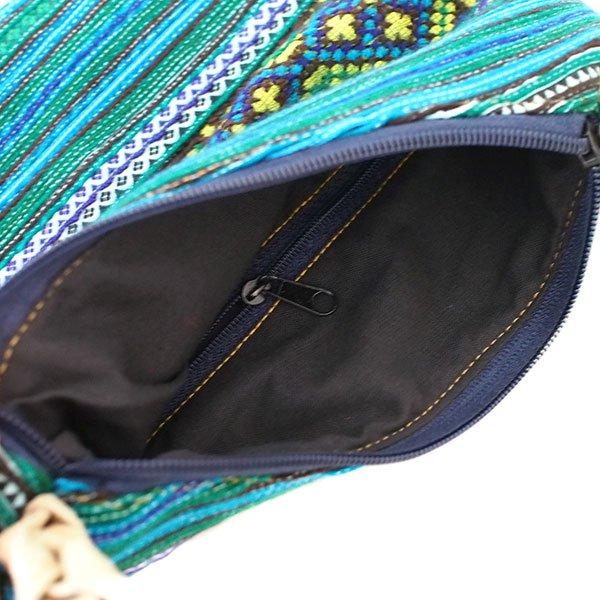 ベトナム 少数民族 モン族 刺繍 ポンポン ポシェット(グリーン)【画像4】