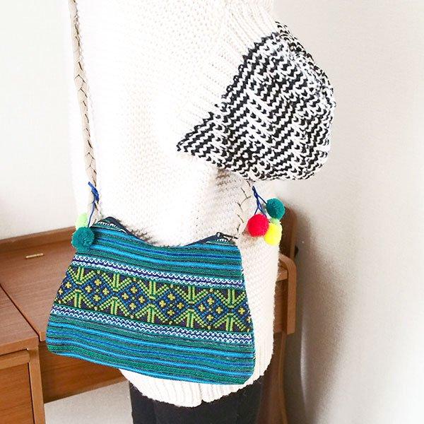 ベトナム 少数民族 モン族 刺繍 ポンポン ショルダー バッグ(グリーン)【画像5】