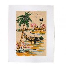 手書きイラスト ベトナム 手描きの絵(船を漕ぐ)