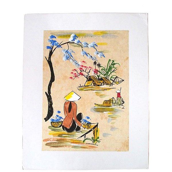 ベトナム 手描きの絵(座って川を眺める)