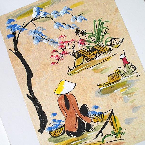 ベトナム 手描きの絵(座って川を眺める)【画像2】
