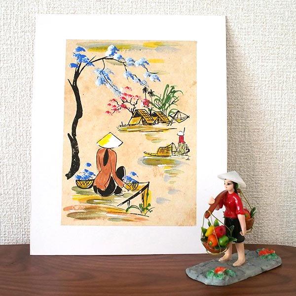 ベトナム 手描きの絵(座って川を眺める)【画像3】