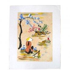 手書きイラスト ベトナム 手描きの絵(座って川を眺める)