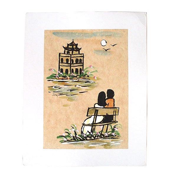 ベトナム 手描きの絵(ベンチに座る恋人達)
