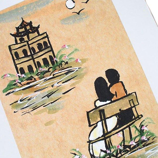 ベトナム 手描きの絵(ベンチに座る恋人達)【画像2】