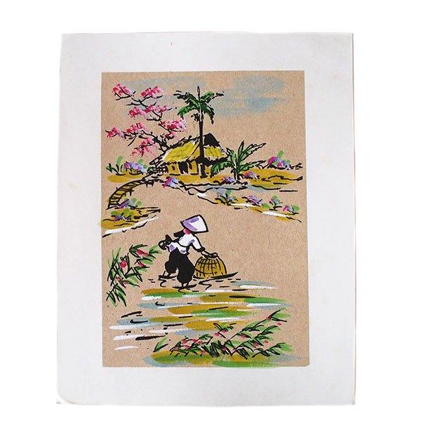 ベトナム 手描きの絵(網で魚を採る)