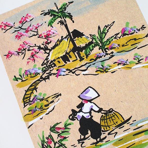 ベトナム 手描きの絵(網で魚を採る)【画像2】
