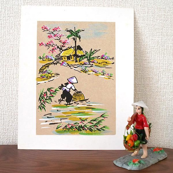 ベトナム 手描きの絵(網で魚を採る)【画像3】