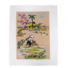手書きイラスト ベトナム 手描きの絵(網で魚を採る)