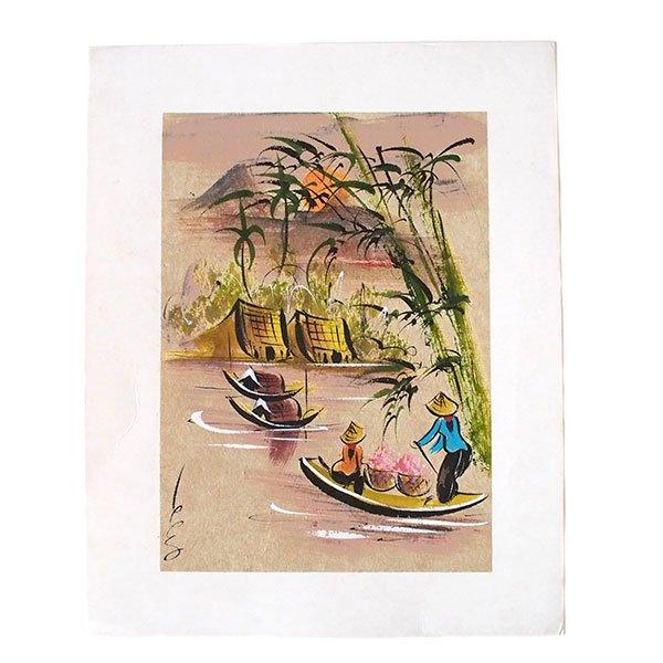 ベトナム 手描きの絵(船を漕ぐ女性達)