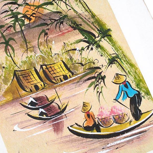 ベトナム 手描きの絵(船を漕ぐ女性達)【画像2】