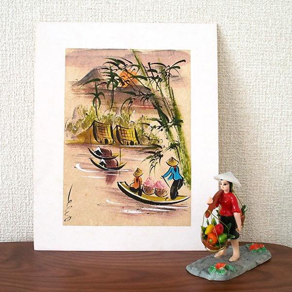 ベトナム 手描きの絵(船を漕ぐ女性達)【画像3】