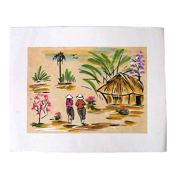 ベトナム 手描きの絵(自転車に乗る二人)