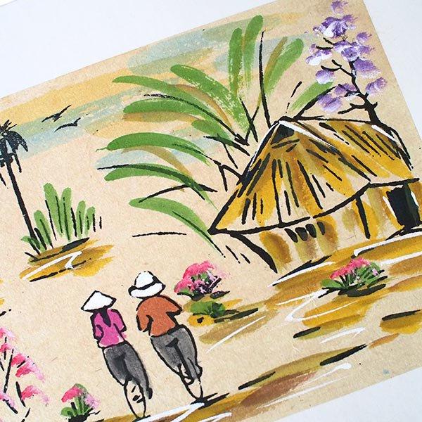 ベトナム 手描きの絵(自転車に乗る二人)【画像2】
