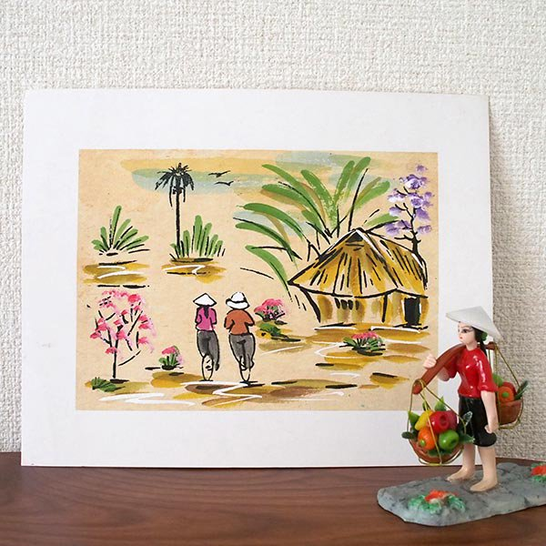 ベトナム 手描きの絵(自転車に乗る二人)【画像3】
