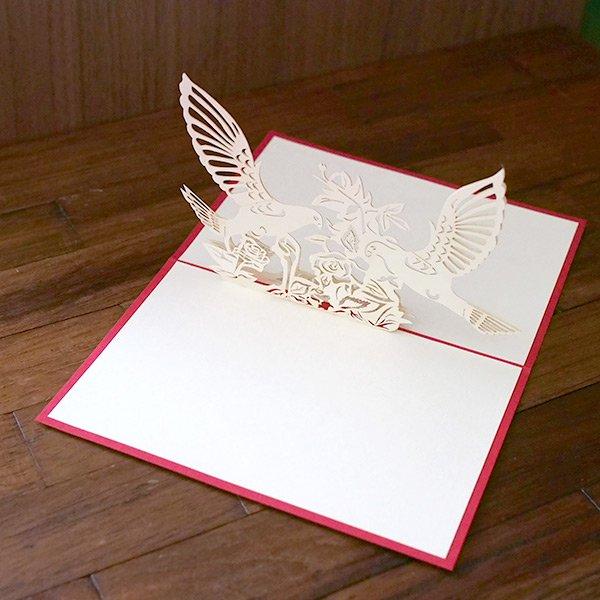 ベトナム 切り絵 ポップアップカード(鳥 10×15)【画像3】