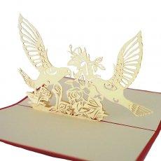 トリ (鳥) 雑貨 ベトナム 切り絵 ポップアップカード(鳥 10×15)