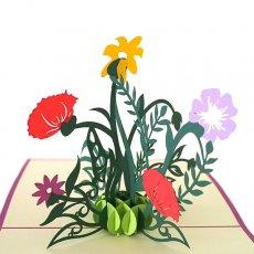 ベトナム 切り絵 ポップアップカード(花 15×15)