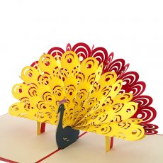 トリ (鳥) 雑貨 ベトナム 切り絵 ポップアップカード(クジャク 15.5×14)