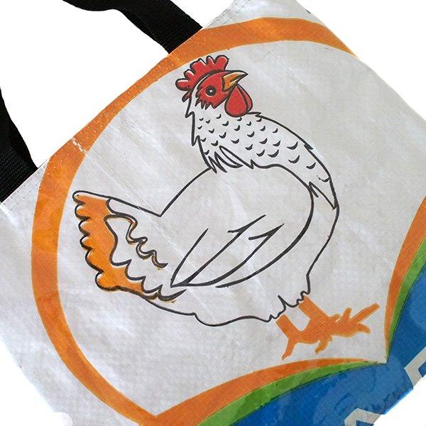 ベトナム 飼料袋 リメイク バッグ(マチ付き ニワトリ 小)【画像3】