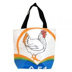 トリ (鳥) 雑貨 ベトナム 飼料袋 リメイク トートバッグ(マチ付き ニワトリ 小)