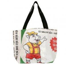 ベトナム 飼料袋 リメイク バッグ(肩掛けOK マチ付き ブタ B 大)