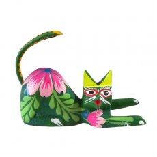 メキシコ 雑貨 メキシコ ウッドカービング アレブリヘス(ネコ グリーン B)