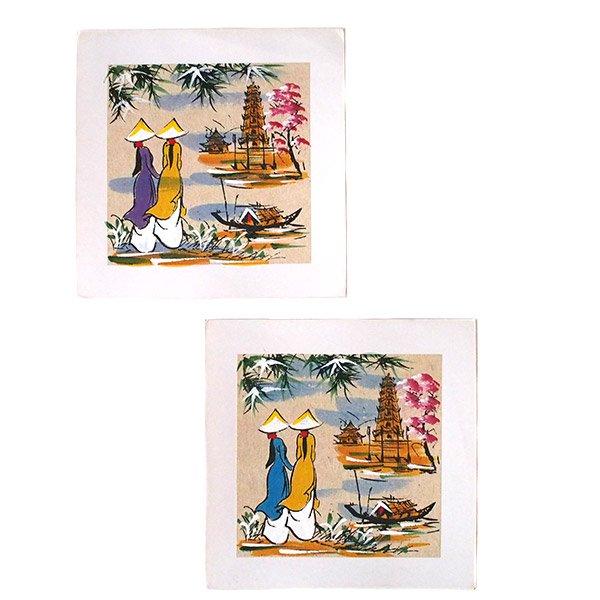 ベトナム 手描きの絵(アオザイの女の子2人)