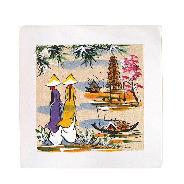 ベトナム 手描きの絵(アオザイの女の子2人)【画像2】