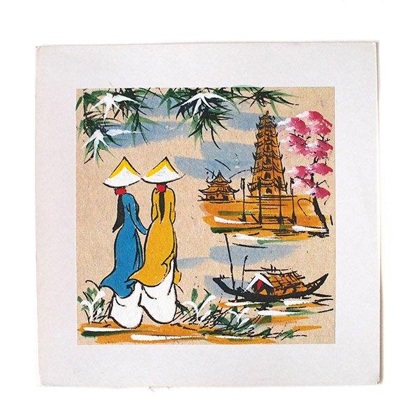 ベトナム 手描きの絵(アオザイの女の子2人)【画像3】