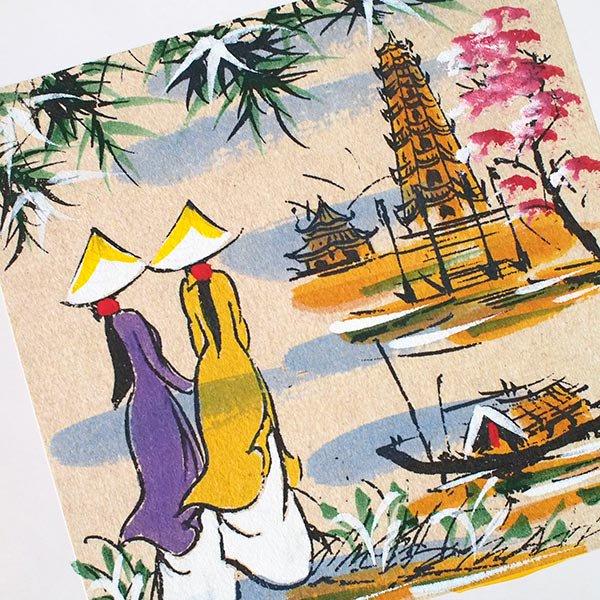 ベトナム 手描きの絵(アオザイの女の子2人)【画像4】