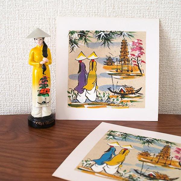 ベトナム 手描きの絵(アオザイの女の子2人)【画像5】