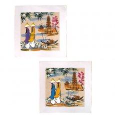 手書きイラスト ベトナム 手描きの絵(アオザイの女の子2人)