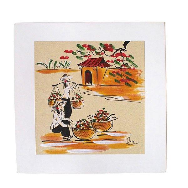 ベトナム 手描きの絵(天秤棒でお花摘み)