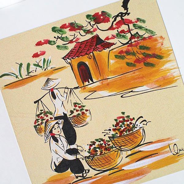 ベトナム 手描きの絵(天秤棒でお花摘み)【画像2】