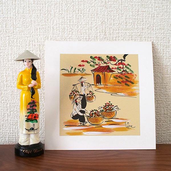 ベトナム 手描きの絵(天秤棒でお花摘み)【画像3】