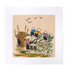 アート / ART ベトナム 手描きの絵(みんなで稲刈り)