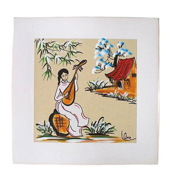 ベトナム 手描きの絵(琵琶を弾く女の子)