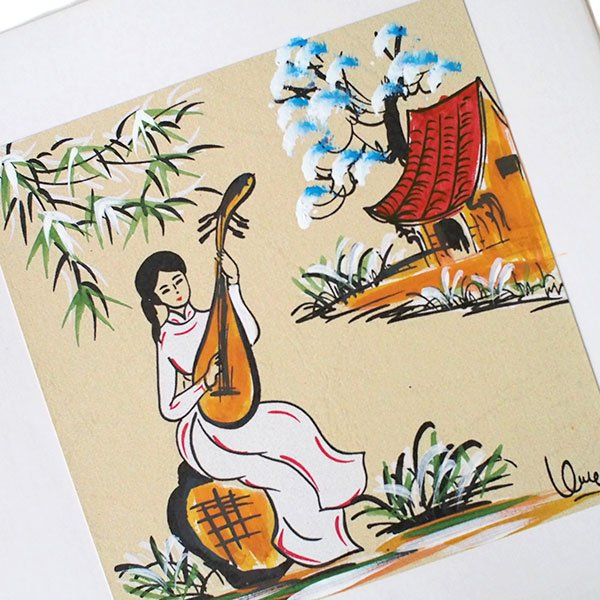 ベトナム 手描きの絵(琵琶を弾く女の子)【画像2】